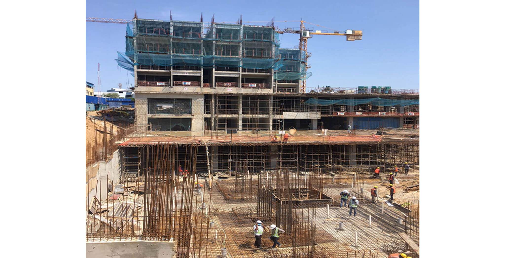 May 2021 - Tower A1: Fifth floor level above slab work is in progress