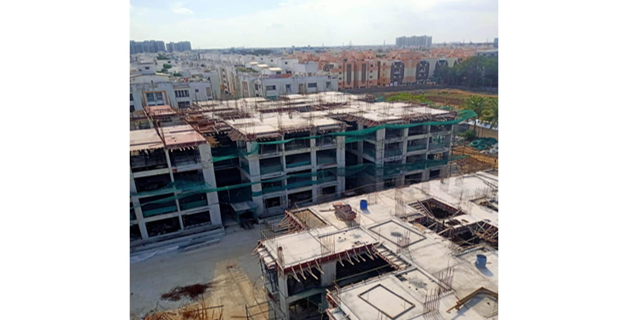 Jun 2021 - Block H—Excavation completed, foundational works completed, ground floor slab completed, first floor slab completed, second floor slab completed, third floor slab completed, fourth floor slab in progress