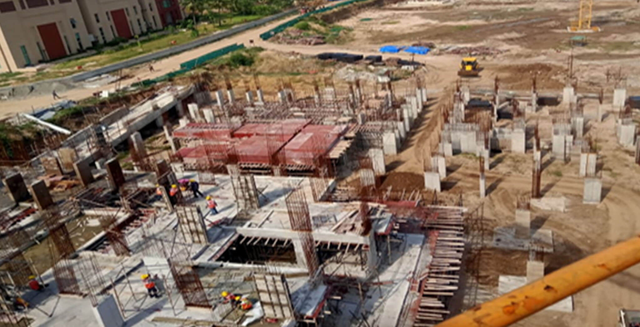 Jun 2021 - Block J: Excavation completed, foundational works completed, ground floor slab completed, first floor slab completed, second floor slab in progress