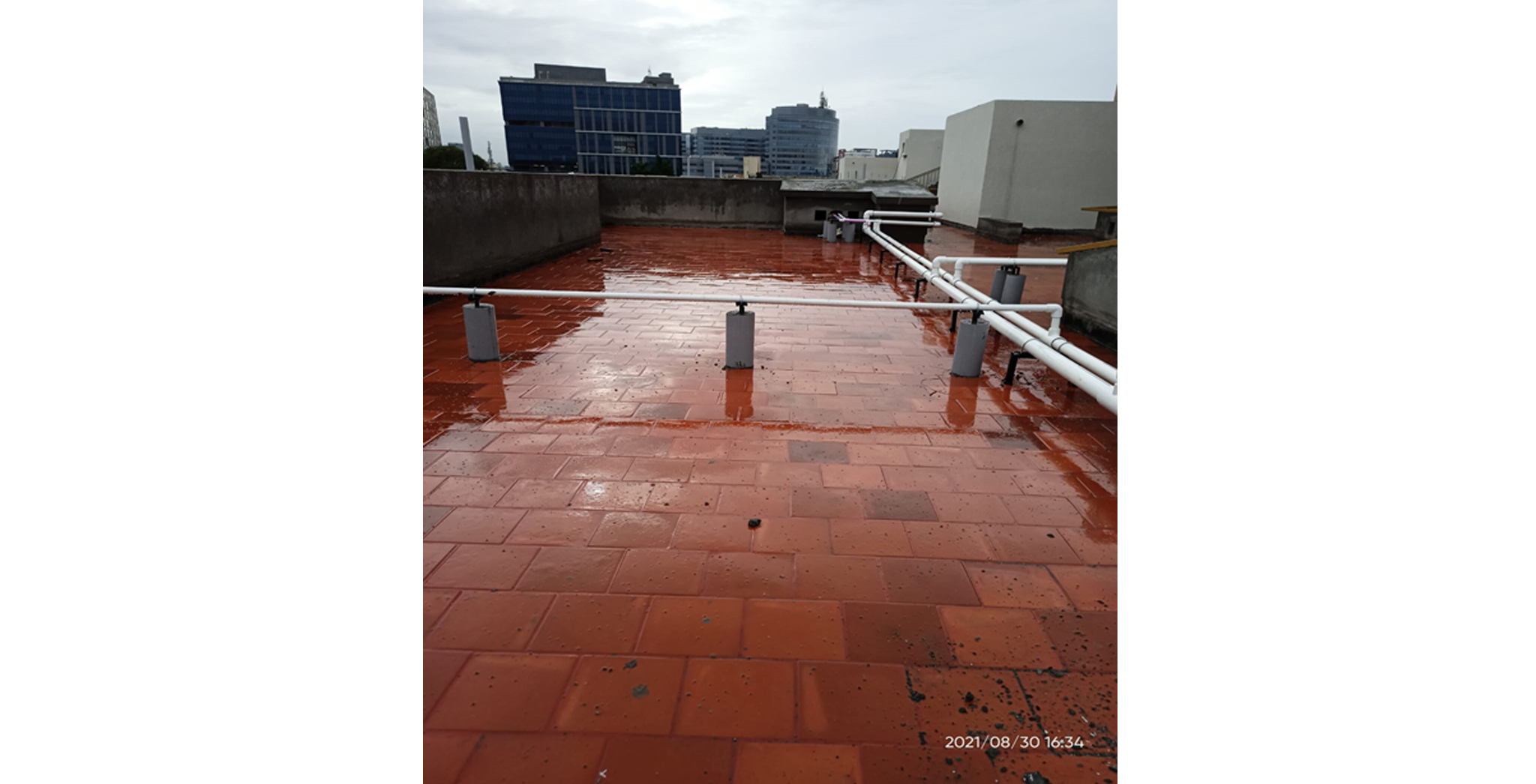 Aug 2021 - A Block: Terrace Piping work completed