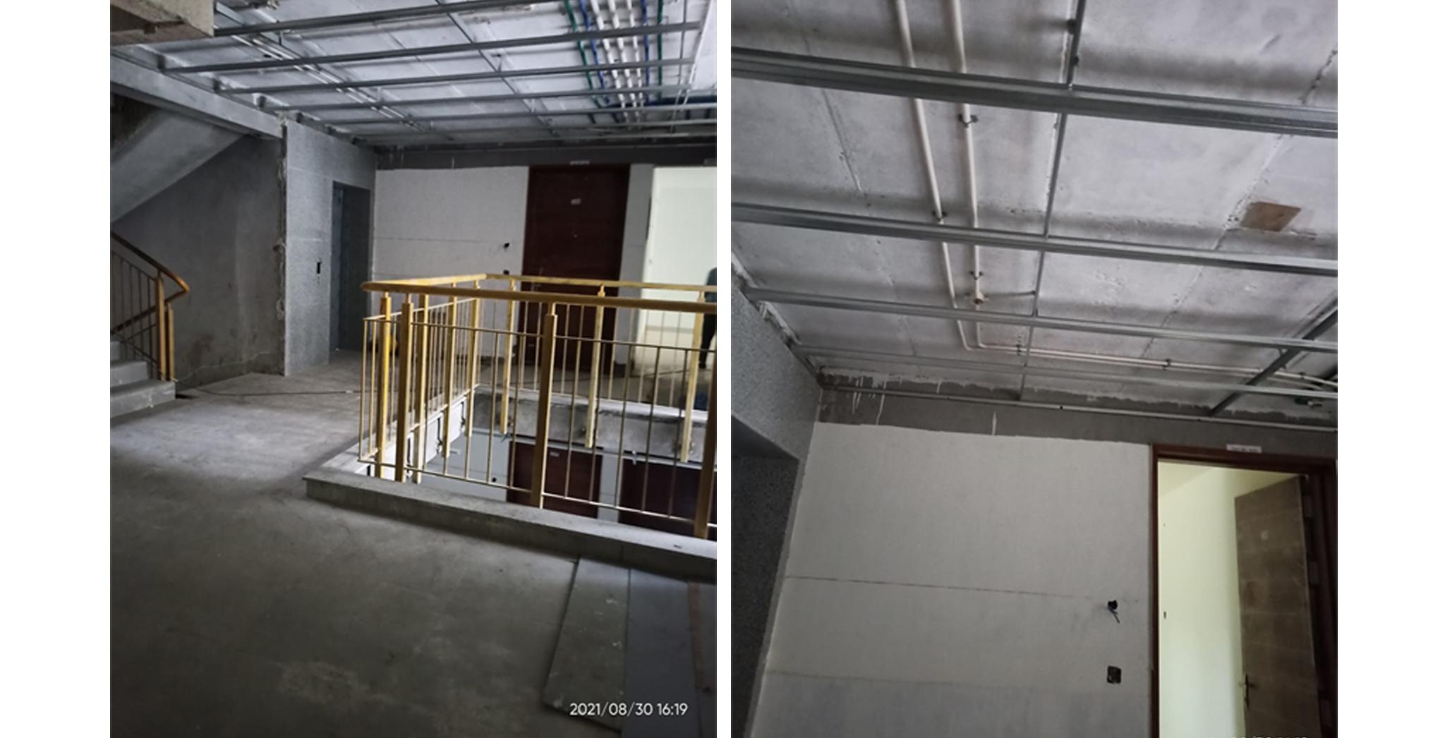 Aug 2021 - A Block: Ground floor lobby flooring completed. Ground floor lobby false ceiling work in progress