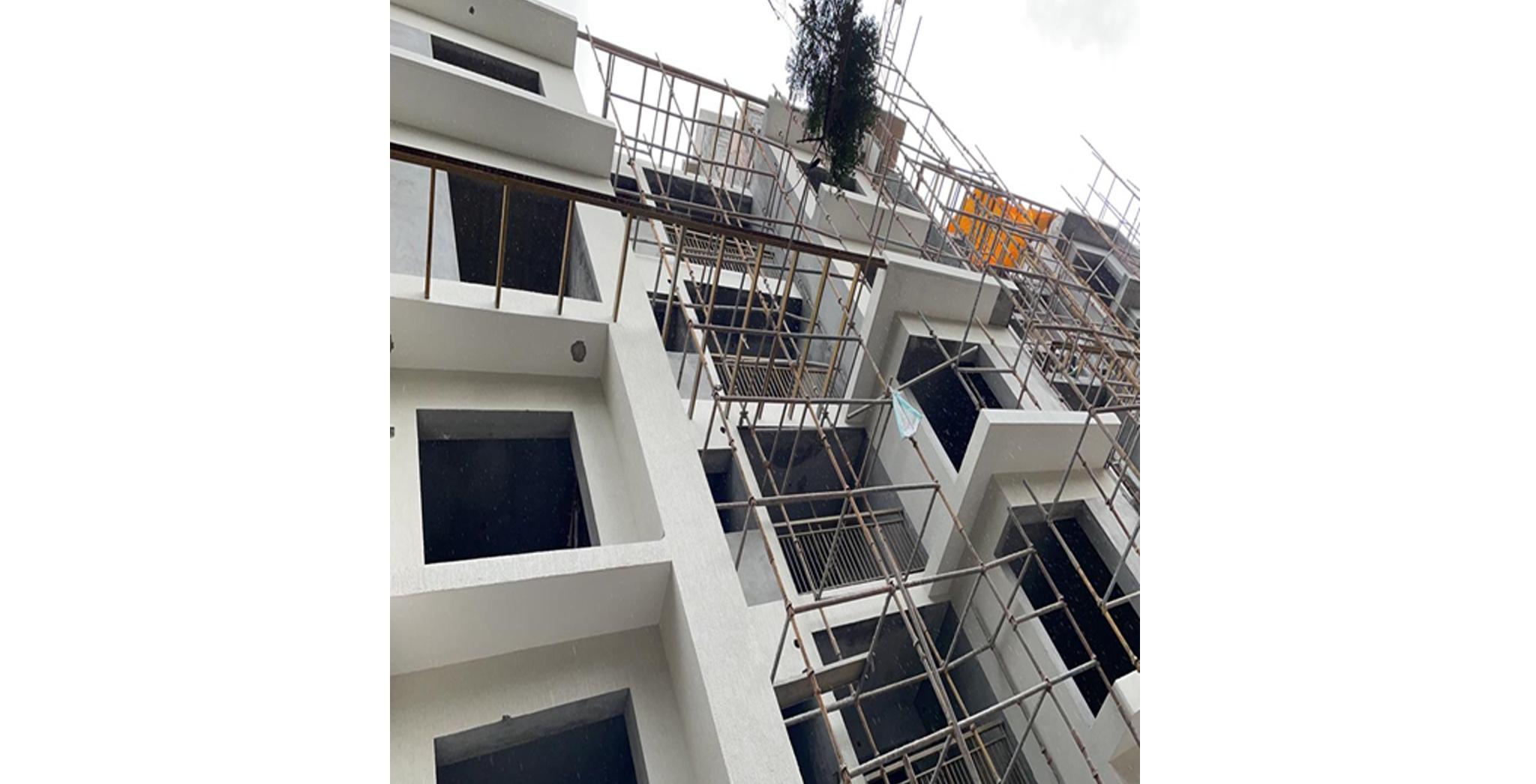 Aug 2021 - C Block: North Elevation External Painting in progress