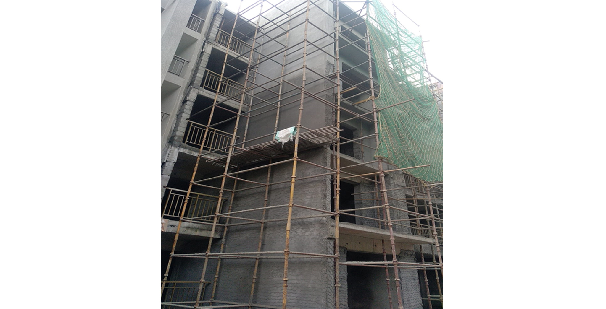 Aug 2021 - D Block : North Elevation External Plastering Work in progress