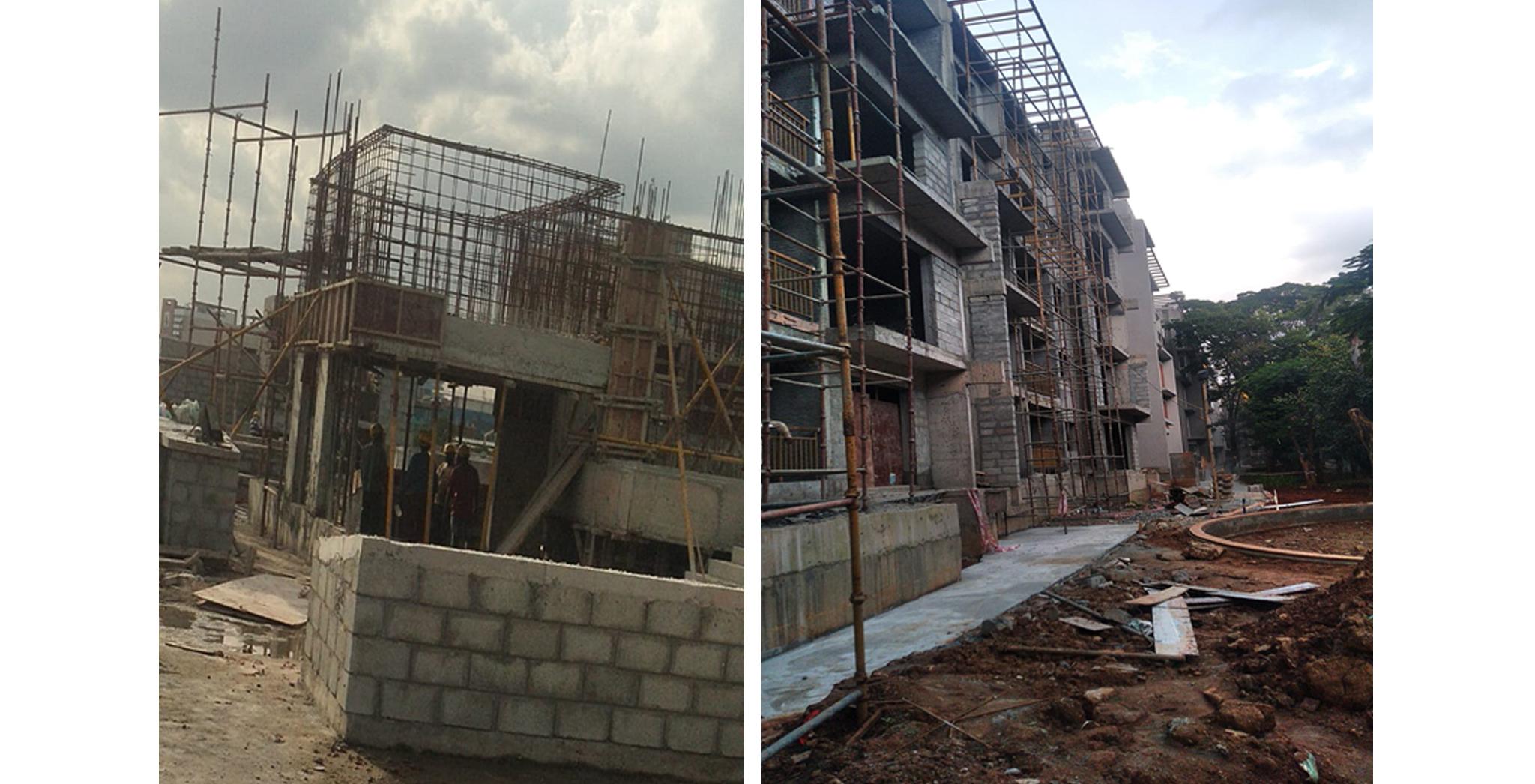 Sep 2021 - D Block: OHT Work in progress. South Elevation External Plastering work in progress