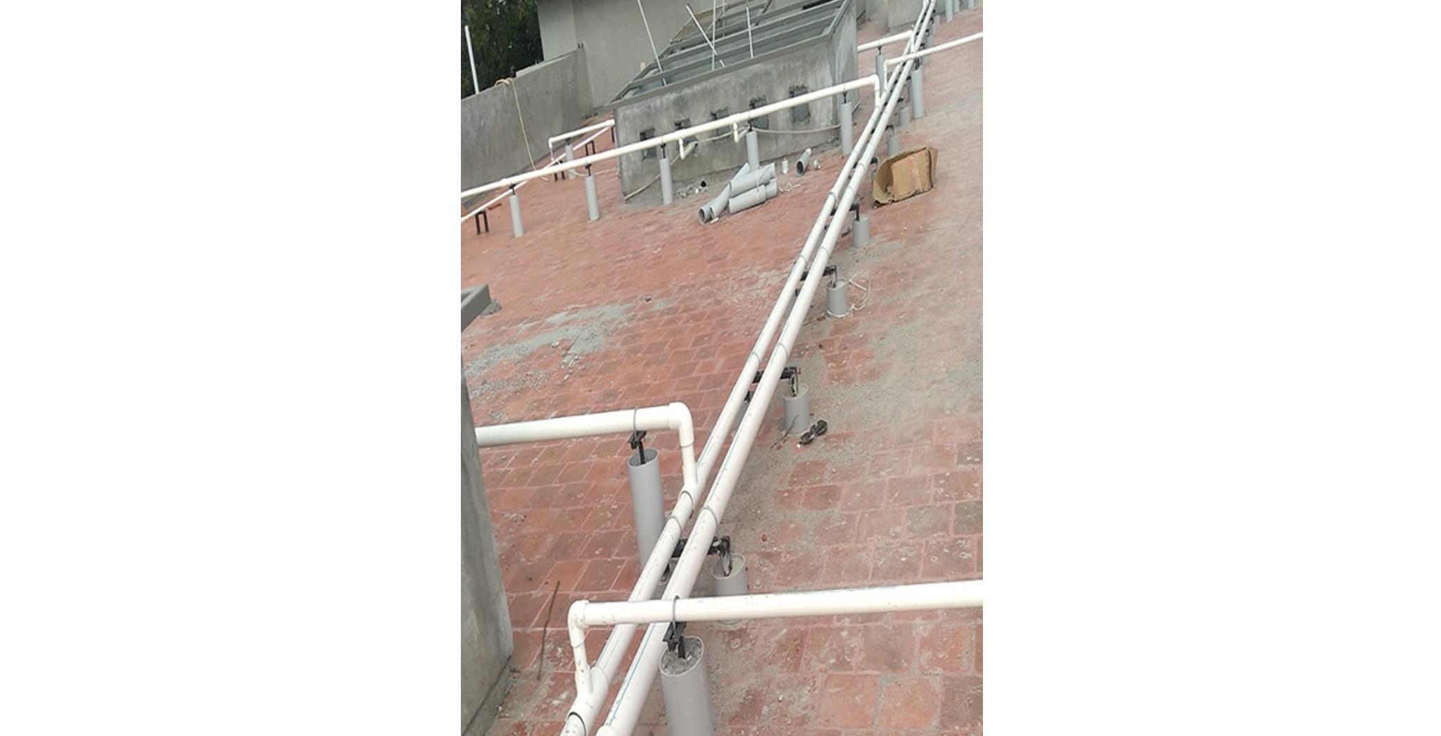 Aug 2021 - F Block: Terrace Piping work in progress