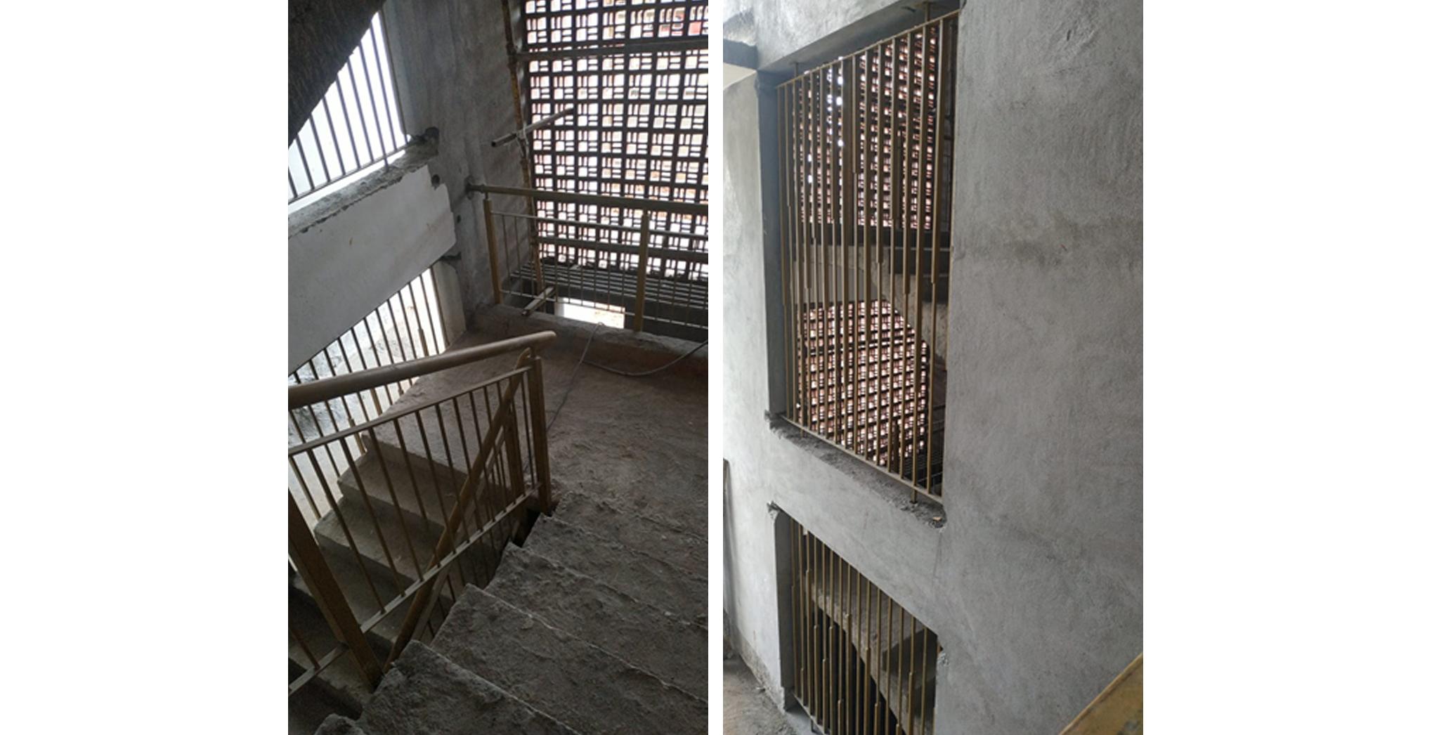 Aug 2021 - J Block: Staircase Railing work in progress. Lobby Railing work
