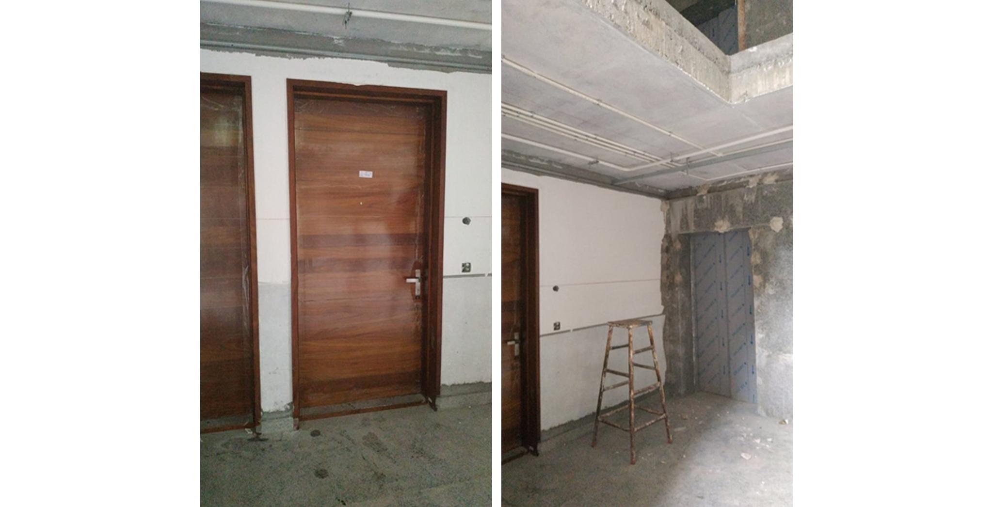 Aug 2021 - L Block: Wooden door fixing in progress. Ground floor lobby False ceiling in progress