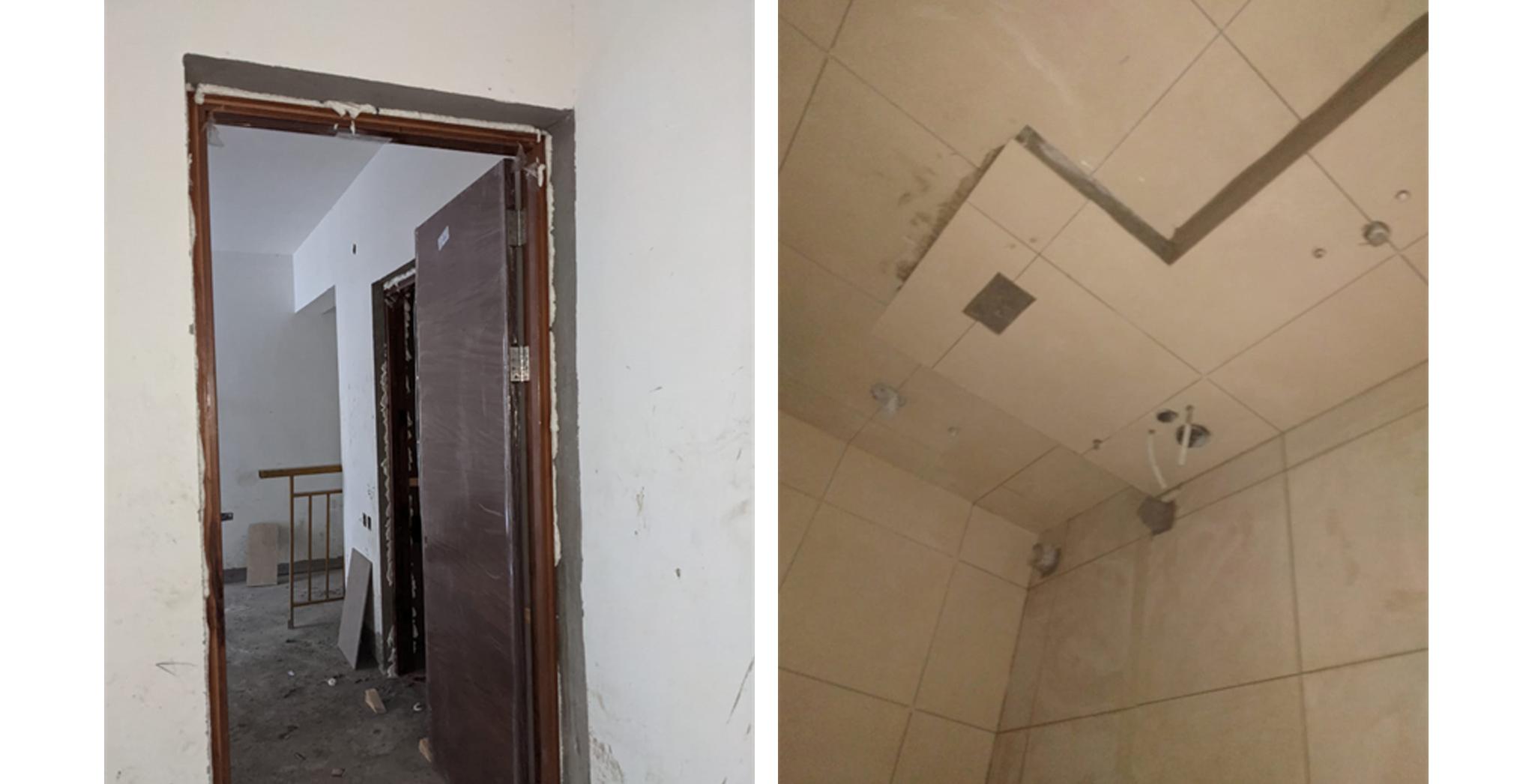 Aug 2021 - P Block: Wooden door fixing in progress. Toilet dado & flooring work in progress