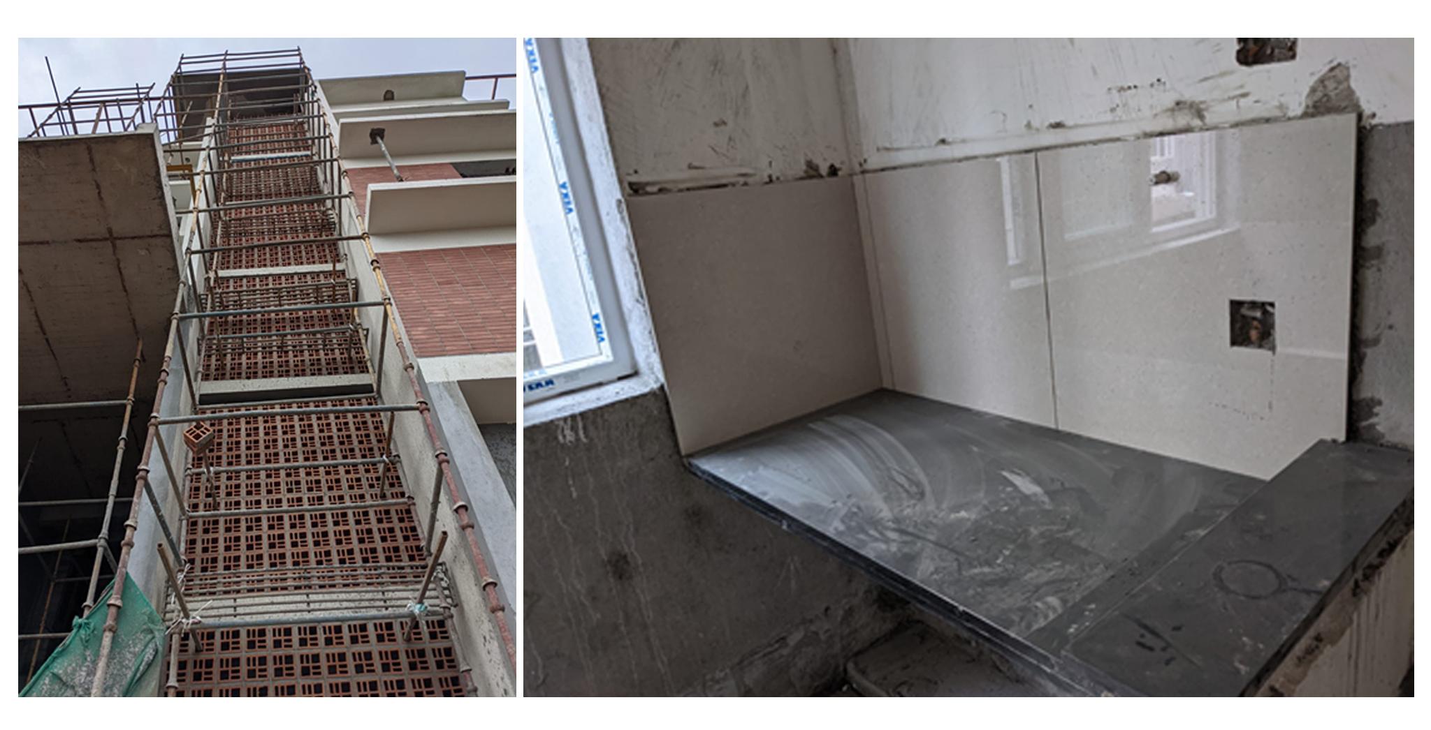 Aug 2021 - Q Block: Staircase Jally Work in progress. Granite counter fixing in progress