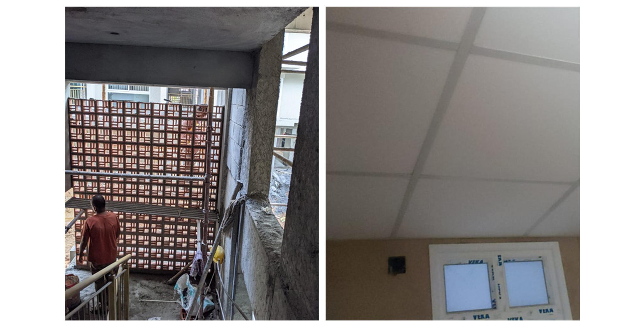 Aug 2021 - R Block: Staircase Jally work in progress. Toilet false ceiling work in progress.
