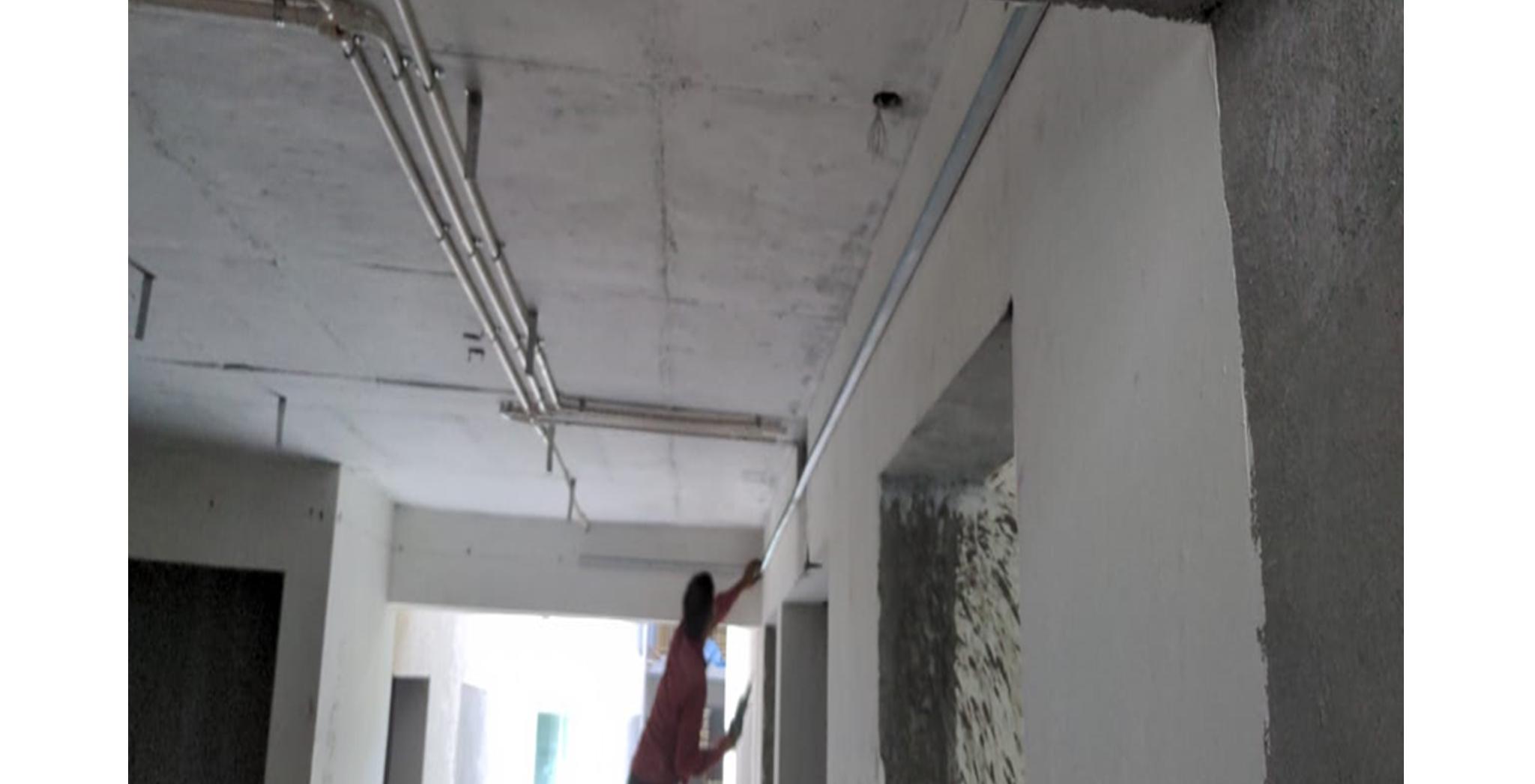 Aug 2021 - R Block: Ground floor Lobby False ceiling work in progress