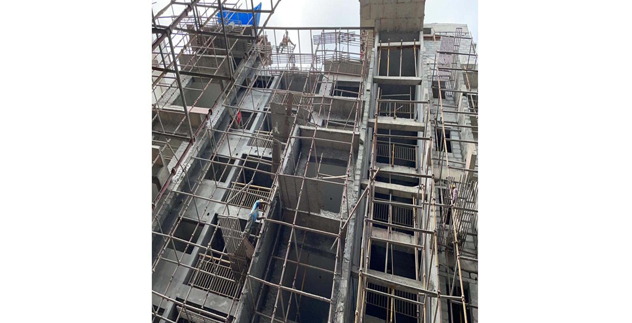 Aug 2021 - S Block: South Elevation External Plastering work in progress