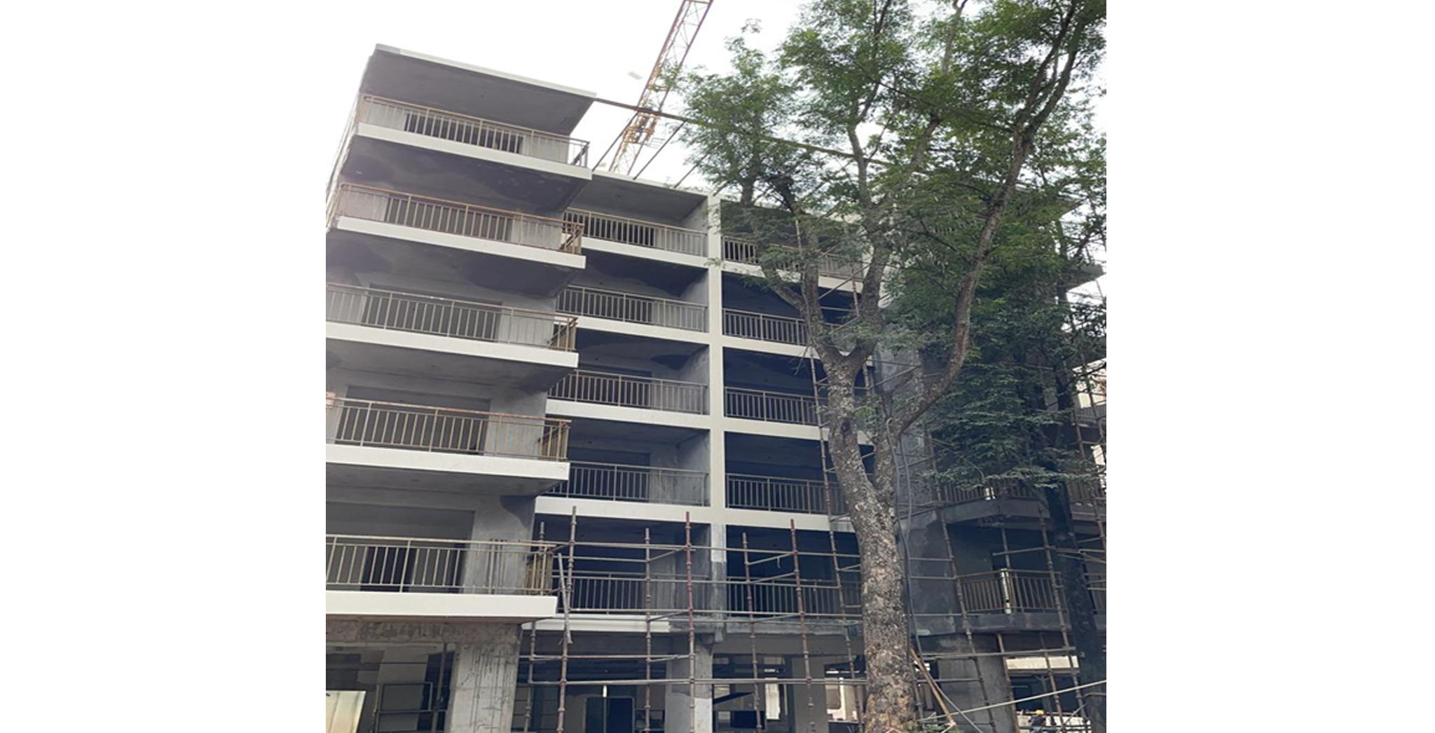 Aug 2021 - S Block: East Elevation External Painting work in progress