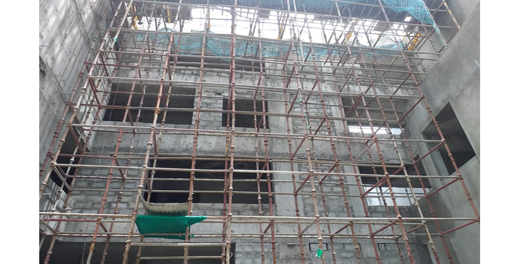 Aug 2021 - Block C: All floor connecting corridor view - Podium side plastering works in progress
