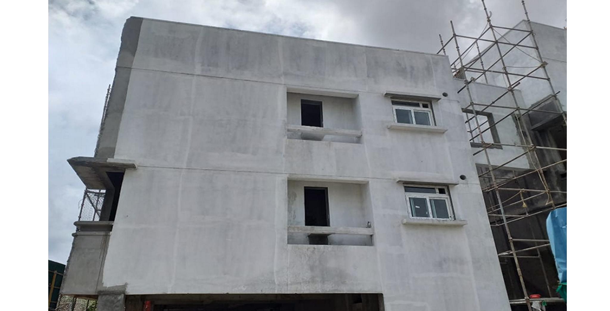 Aug 2021 - Block C East side view: External plastering works completed, external primer works in progress