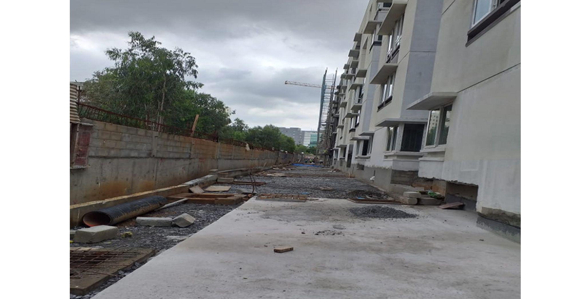 Aug 2021 - North Side: Block N to B – Driveway road works in progress