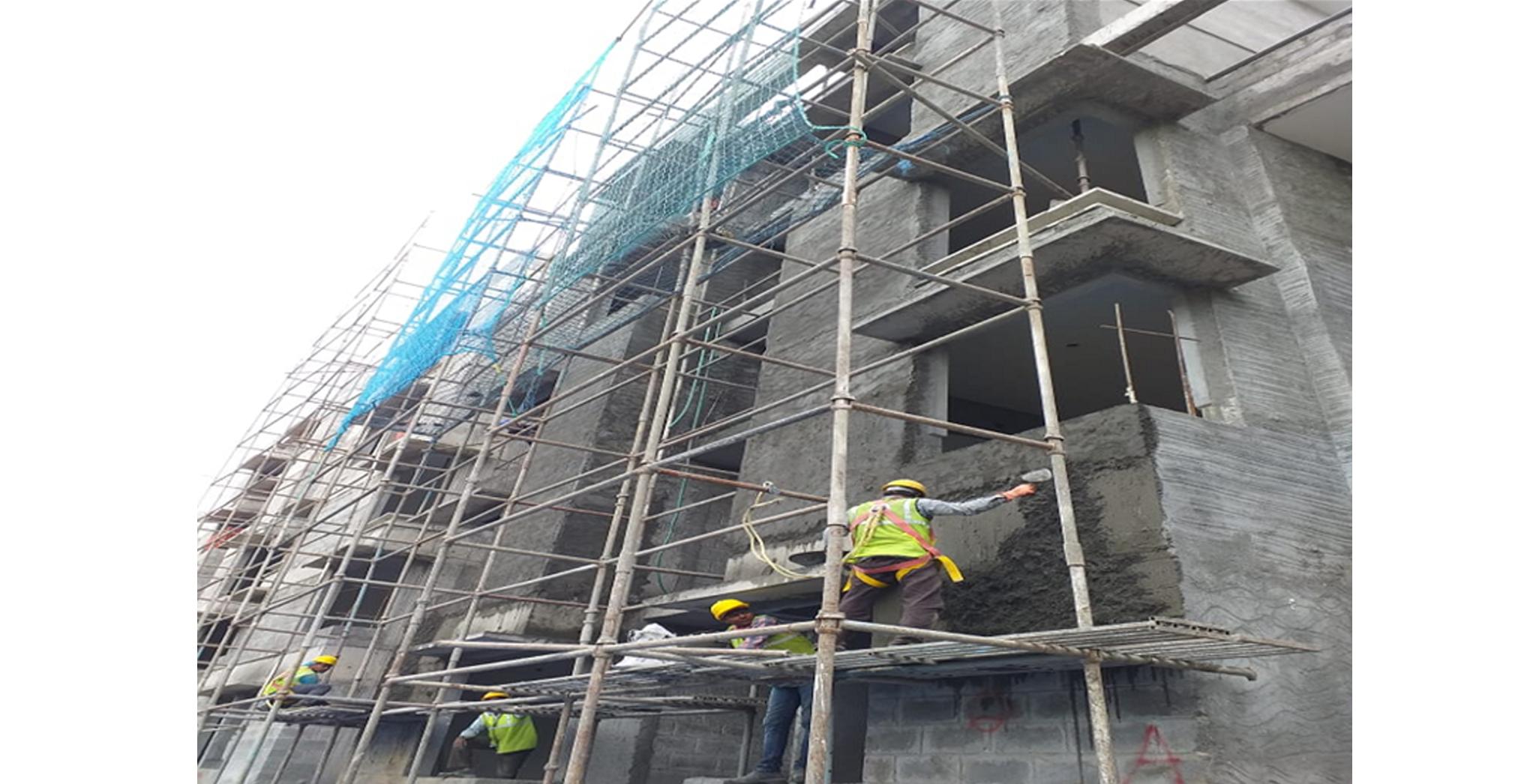 Aug 2021 - North Side: Block Q - External plastering works in progress