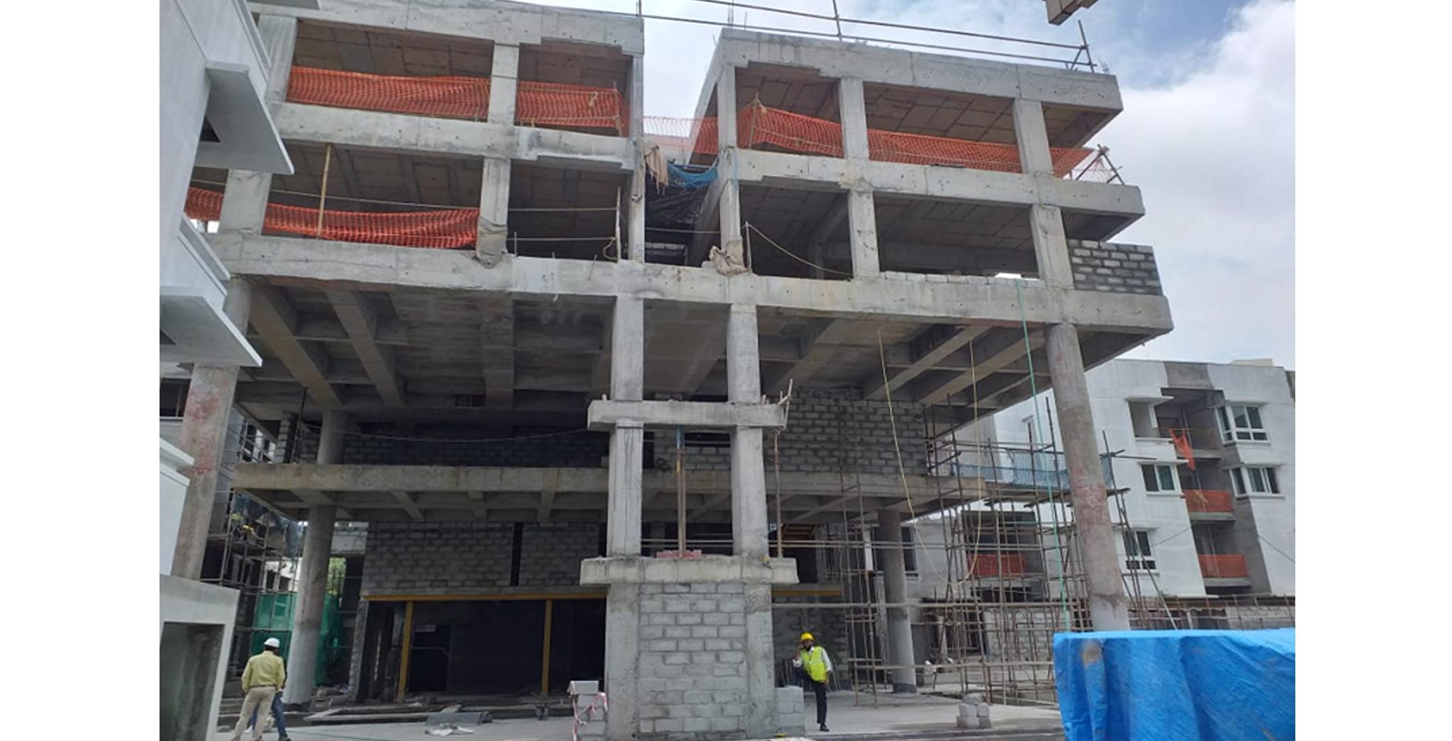 Aug 2021 - North Side View: Block S - Multi-purpose hall and 3rd floor level blockwork in progress