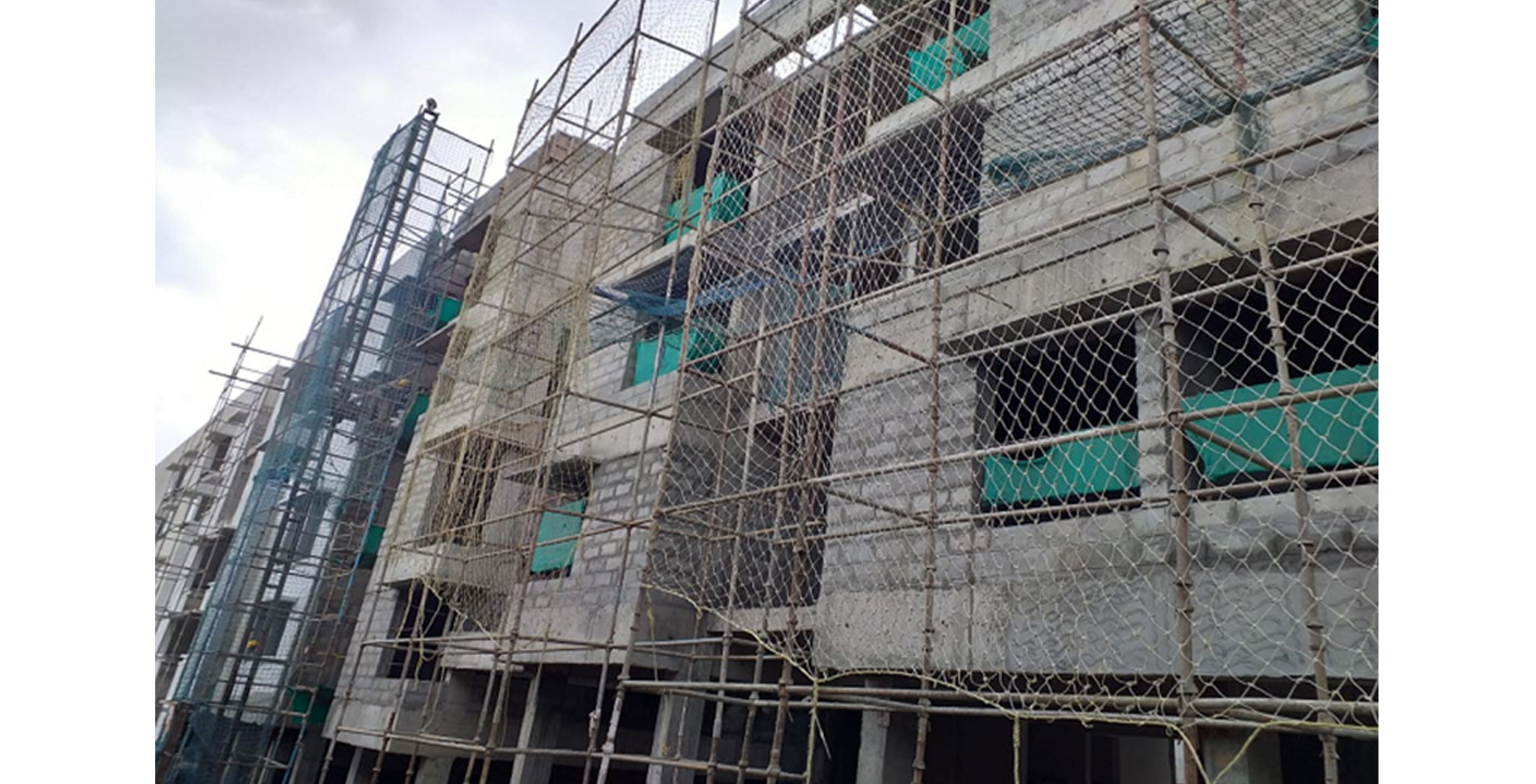 Aug 2021 - South Side View: Block C & D - South side external plastering works in progress