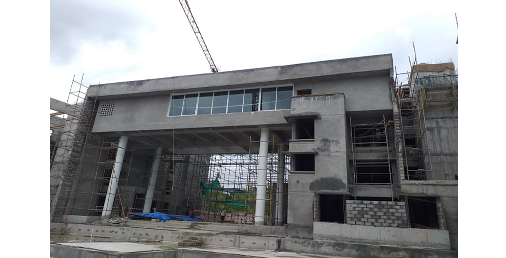 Aug 2021 - East Side View: Block C - External plastering works completed