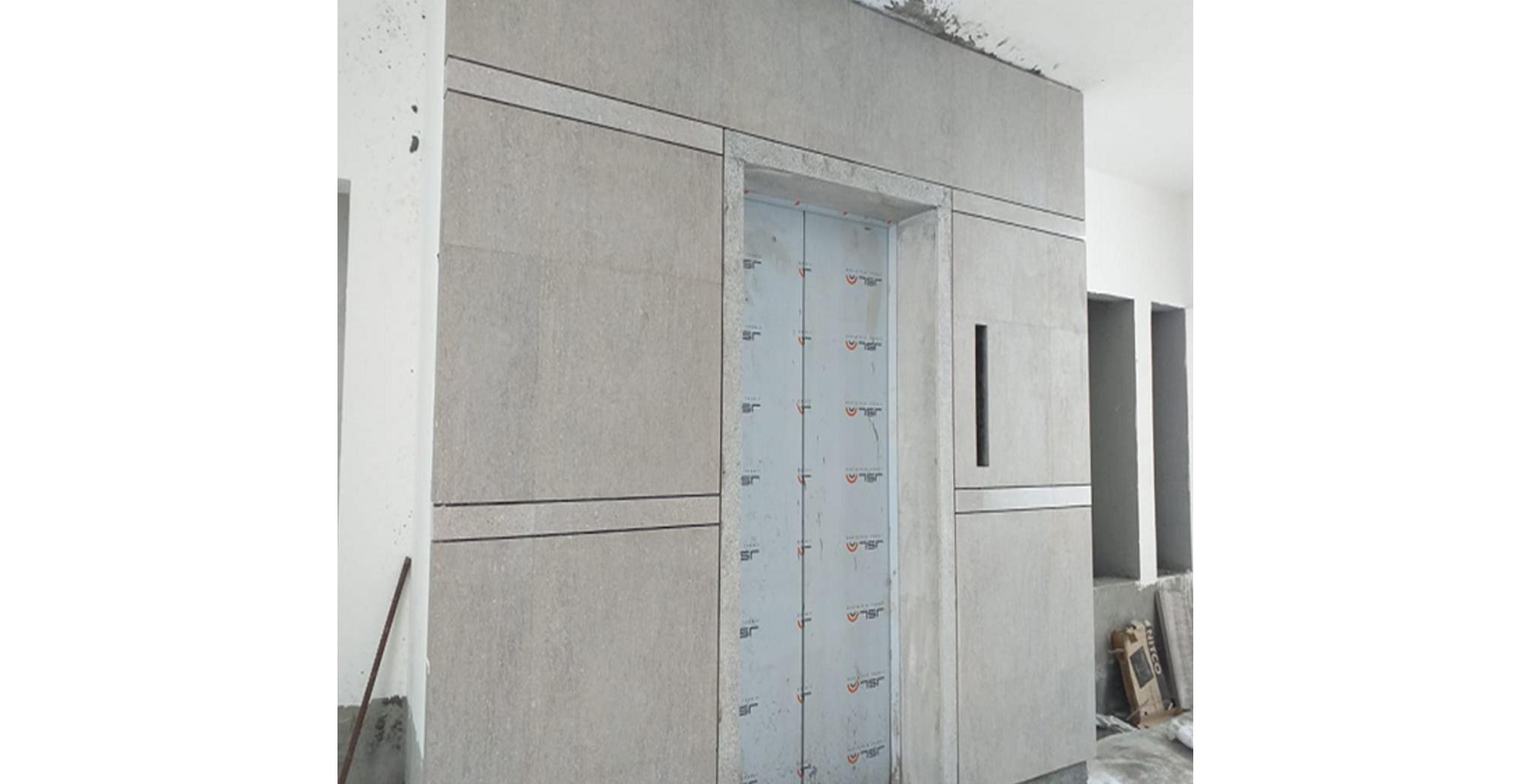 Aug 2021 - Lift Cladding: Block G, J - Lift dado Works in progress