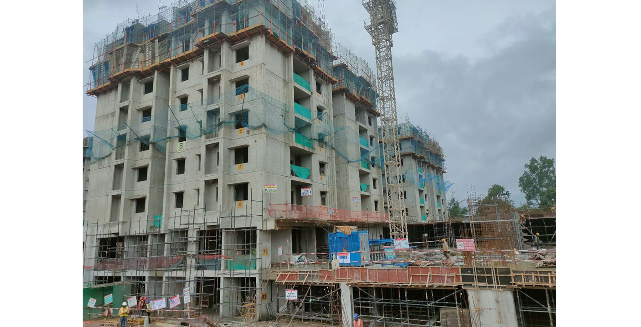 Aug 2021 - Block B: 4th floor (100% completed), 5th Floor (50% completed)