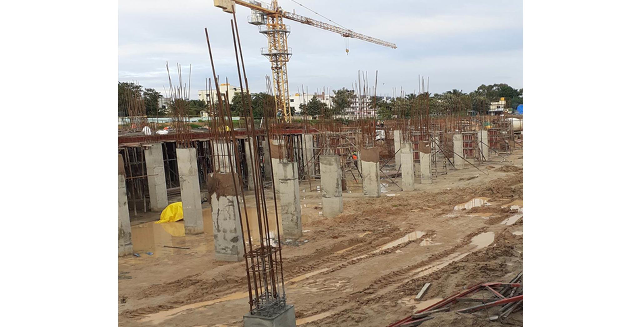 Aug 2021 - Block D: Columns at basement level works in progress