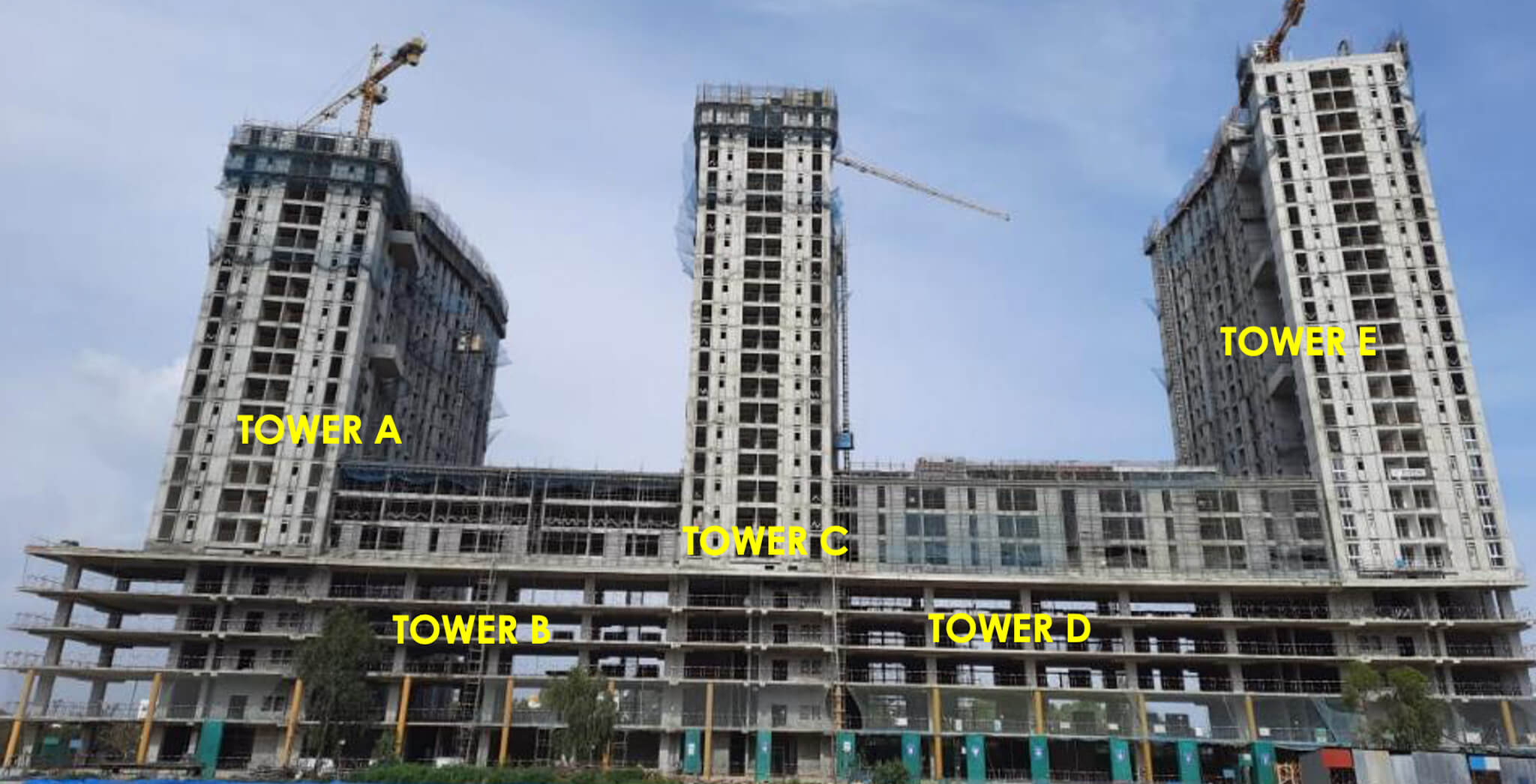 Aug 2021 - Eden Tower A: 23rd & 25th Floor structure works in progress. Eden Tower C: Terrace Floor structure works in progress. Other Towers Terrace Floor structure works completed