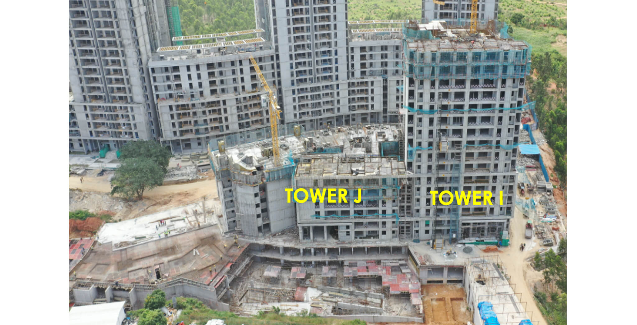 Aug 2021 - Halcyon Overall view: Tower I – 17th Floor structure works in progress. Tower J – 7th Floor structure works in progress